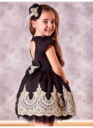 Riccotarz Kız Çocuk Beli İnci Detaylı Etek Ucu Güpürlü Siyah Abiye Siyah
